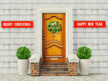 vintage door with a decoration christmas garland. Stock Photo - 11712332