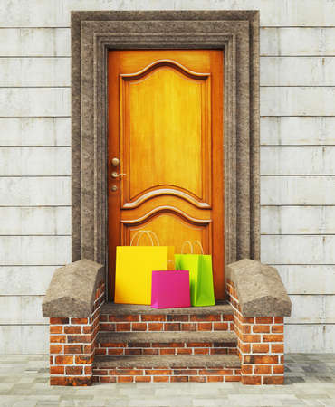 three colorful packages stay near vintage door. photo
