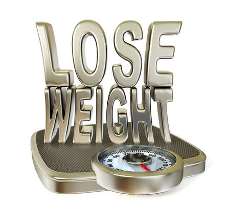 lose weight: Conceptual 3d illustration on a isolated background. Stock Photo