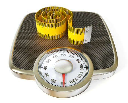 weighing scale: Conceptual 3d illustration on a isolated background. Stock Photo