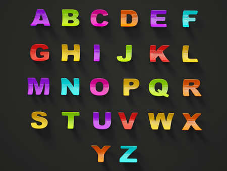 3d alphabet isolated on a black background. photo