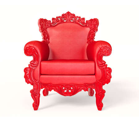 eclectic: Conceptual  red armchair isolated on a white background. Stock Photo