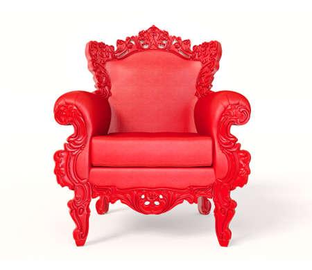 trono: Conceptuales sillón rojo aislado en un fondo blanco. Foto de archivo