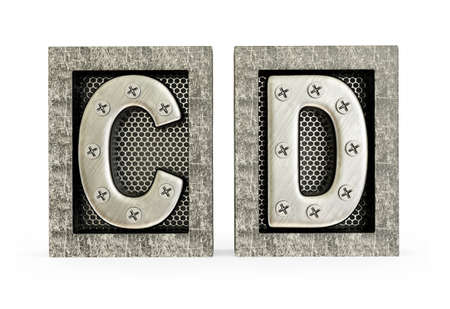 letter alphabet pictures: Conceptual 3d illustration on a isolated background. Stock Photo