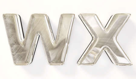 ice alphabet: Textile letter isolated on a white background. Stock Photo