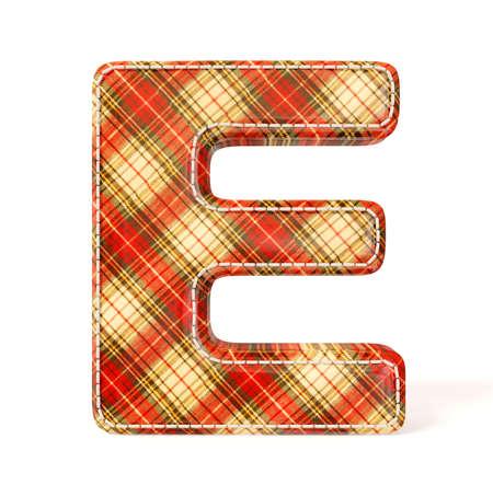 e alphabet: Textile letter isolated on a white background. Stock Photo