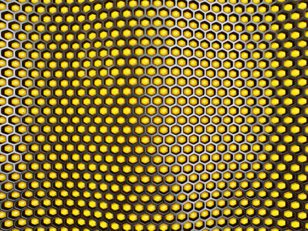 Yellow abstract background and black honeycomb. 3d illustration. illustration