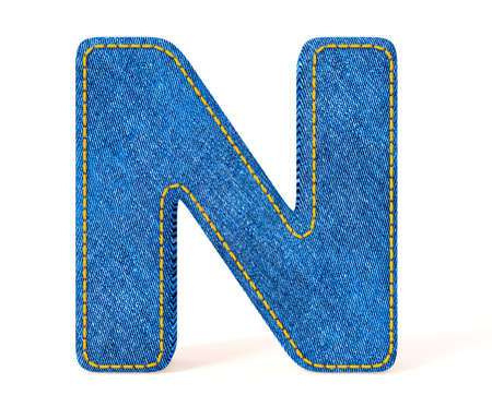 Denim letter isolated on a white background. photo