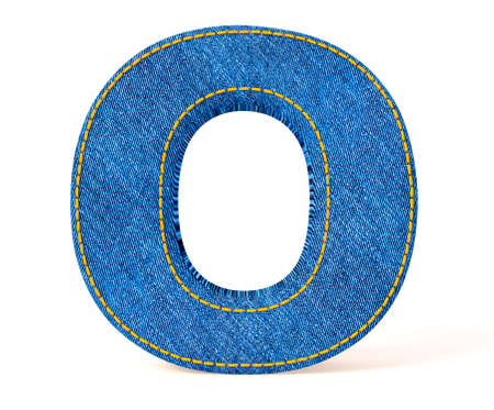 uppercase: Denim letter isolated on a white background.