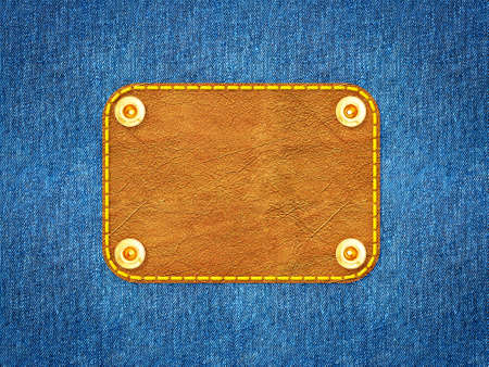 Blue denim background with a leather label. photo