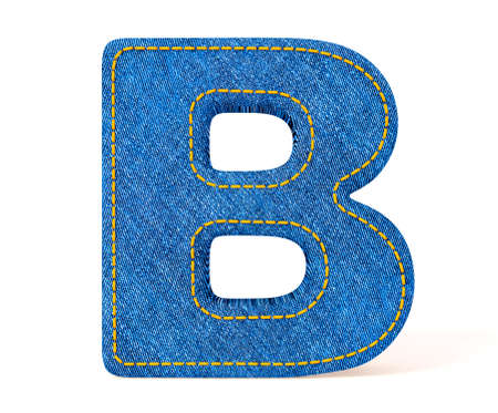 abc blocks: Denim letter isolated on a white background.