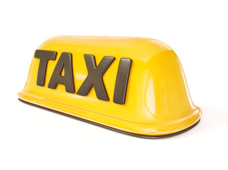 taxi sign isolated on a white background. photo