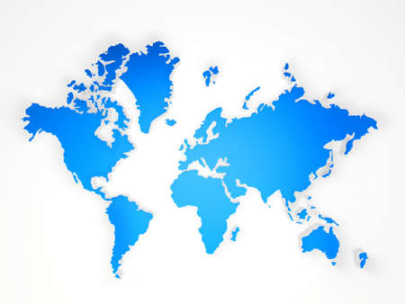 blue world map on a white background Stock Photo - 13618689