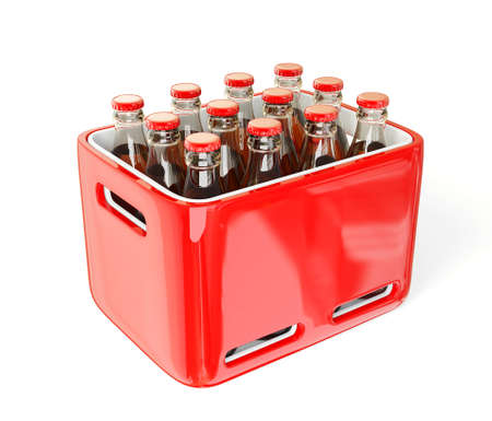 crate: Bottles in case isolated on a white background.
