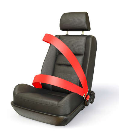 seat belt: car chair isolated on a white background Stock Photo