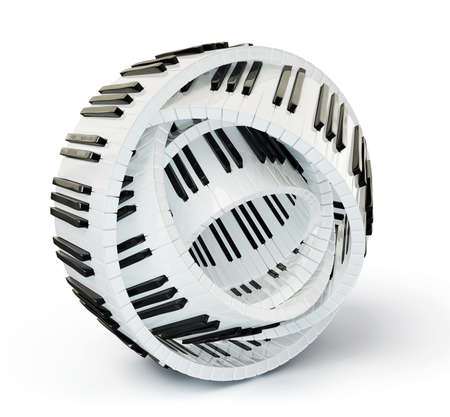 musical instrument parts: conceptual piano keys isolated on a white background Stock Photo