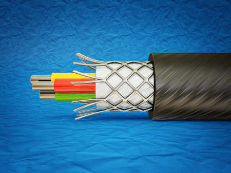 amperage: macro cable isolated on a blue  background