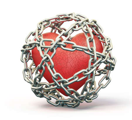 chain fence: red heart isolated in a steel chain