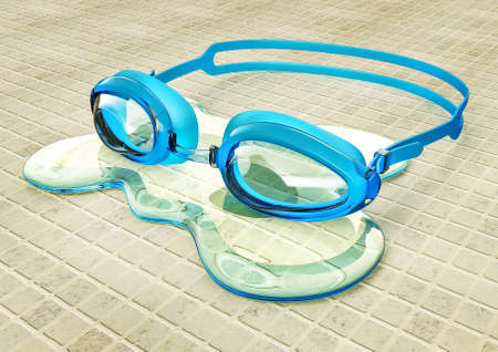 eye protection: plastic goggles  for swimming on a tiles