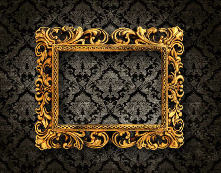 photo backdrop: vintage pattern background with a gold frame