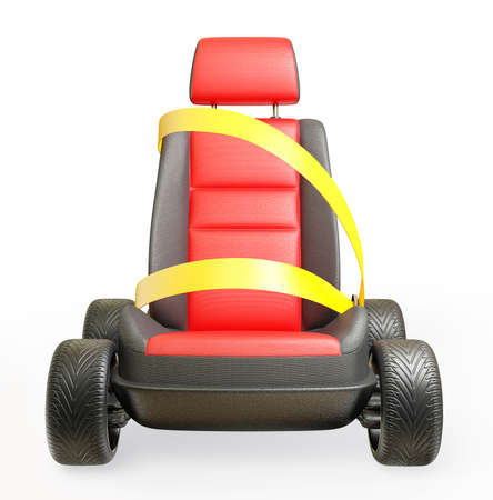 seatbelt: car chair isolated on a white background Stock Photo