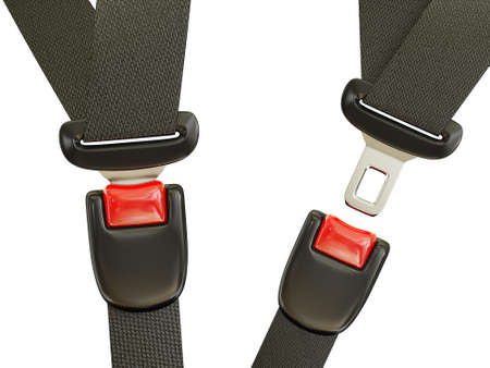 cinturon seguridad: cintur�n de seguridad autom�tico aislado en un fondo blanco Foto de archivo