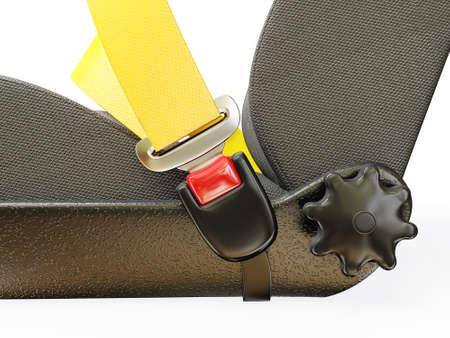cinturon seguridad: cinturón de seguridad coche aislado sobre un fondo blanco