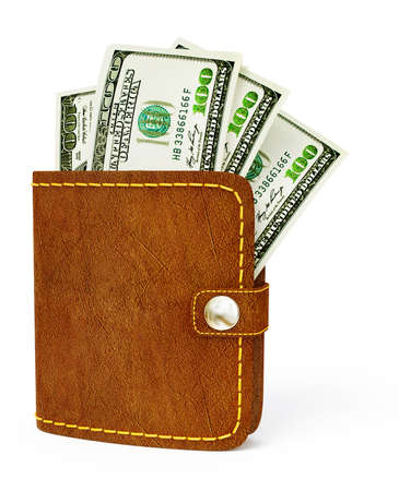 cash wallet isolated on a white background photo