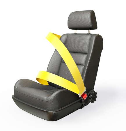 cinturon seguridad: coche silla aislada sobre un fondo blanco
