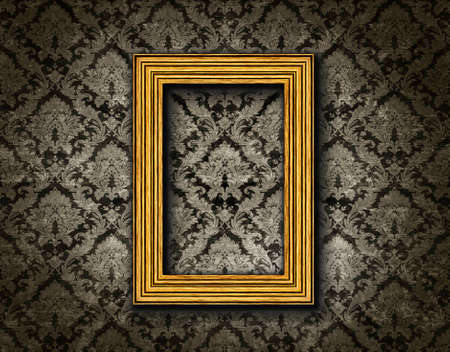 vintage pattern background with a gold frame Stock Photo - 13894569