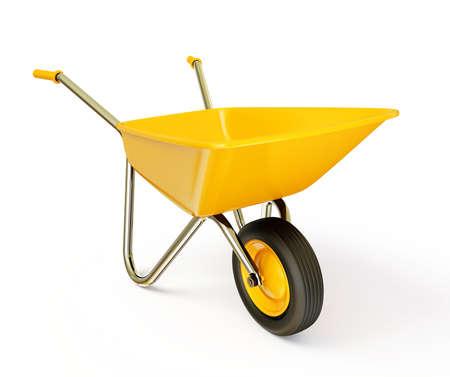 Schubkarre gelb auf weißem Hintergrund isoliert Standard-Bild