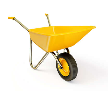 wheelbarrow: yellow wheelbarrow  isolated on a white background Stock Photo