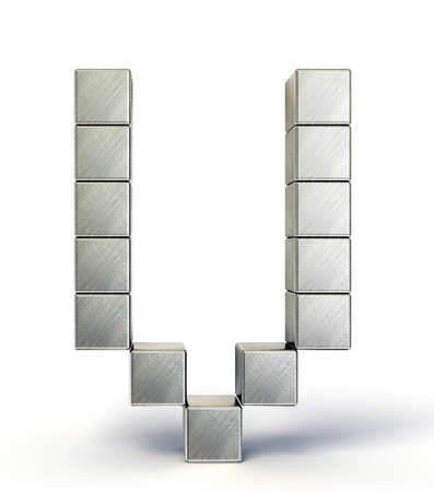 steel letter isolated on a white background photo