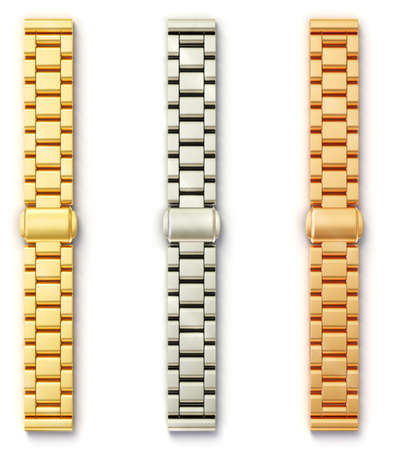 strap on: steel bracelet isolated on a white baclground