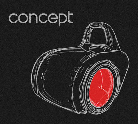 motor cars: concept car isolated on a black background