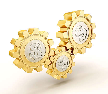 gearwheel: gold coin isolated on a white background