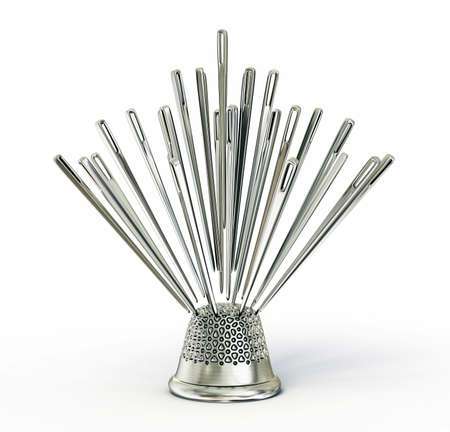 thimble: needles concept isolated on a white background