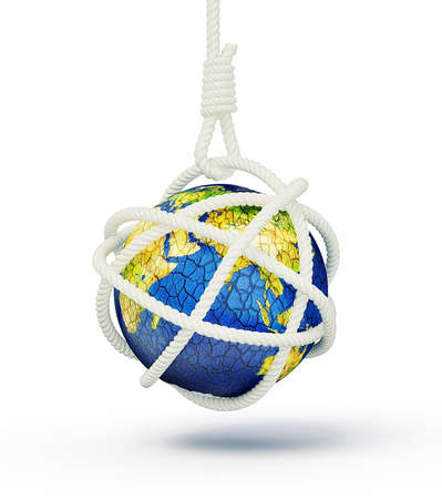 global crisis:  earth in noose isolatedon a white background