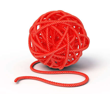 skein: red clew isolated on a white background