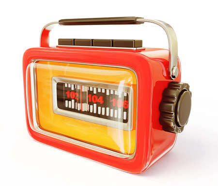 in tune: retro radio isolated on a white background