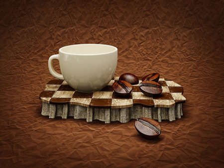 brown coffee background with a white cup photo