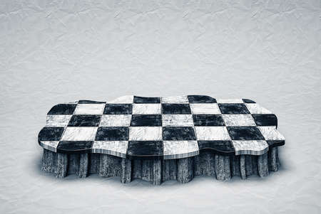 checkered  podium isolated in ampty room photo