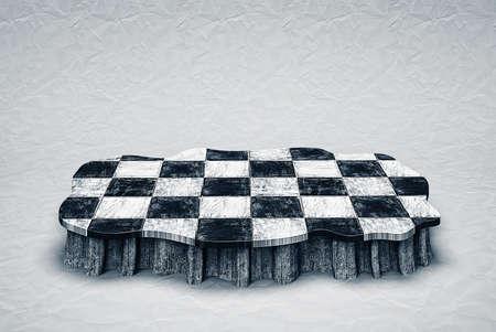 checkered  podium isolated in ampty room photo