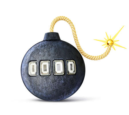 black bomb isolated on a white background photo