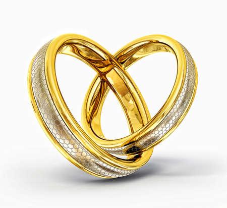 anillos de boda: los anillos de boda aislados en un fondo blanco Foto de archivo