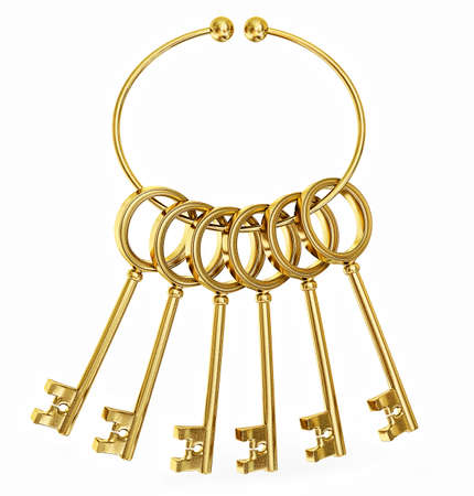 gold keys isolated on a white background photo