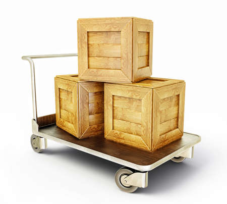 crates: wooden box isolatede on a steel cart
