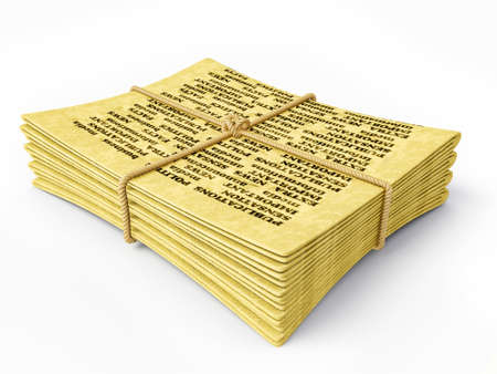 yellow newspaper isolated on a white background photo