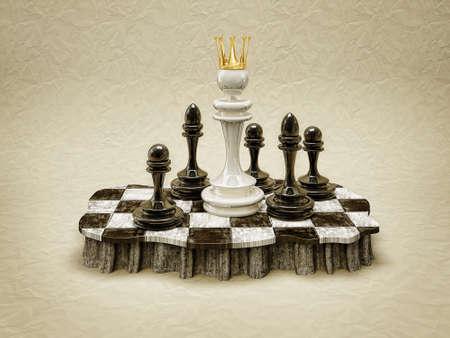 tablero de ajedrez: dama blanca de pie en un tablero de ajedrez Foto de archivo