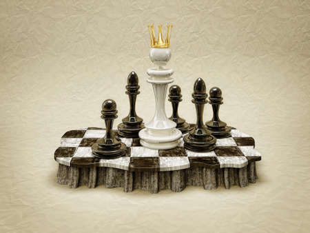 chessboard: white queen standing in a chess board Stock Photo